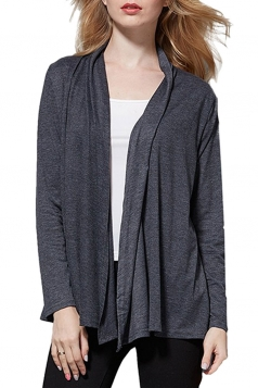 Womens Elegant Plain Long Sleeve Thin Cardigan Gray