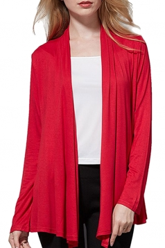 Womens Elegant Plain Long Sleeve Thin Cardigan Ruby