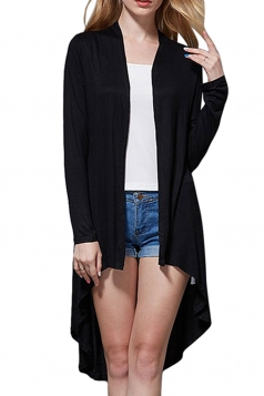 Womens High Low Asymmetric Long Sleeve Plain Cardigan Black