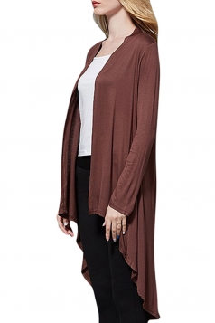 Womens High Low Asymmetric Long Sleeve Plain Cardigan Coffee