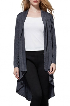 Womens High Low Asymmetric Long Sleeve Plain Cardigan Gray