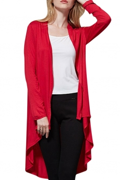 Womens High Low Asymmetric Long Sleeve Plain Cardigan Ruby