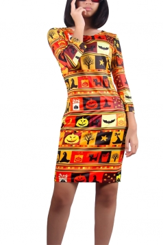 Womens Halloween Pumpkin Printed Long Sleeve Midi Dress Gold