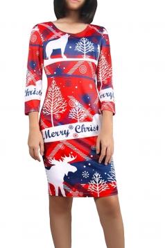 Womens Christmas Reindeer Printed Long Sleeve Midi Dress Red