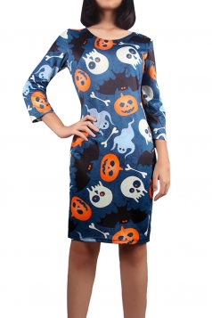 Womens Halloween Pumpkin Printed Long Sleeve Midi Dress Navy Blue