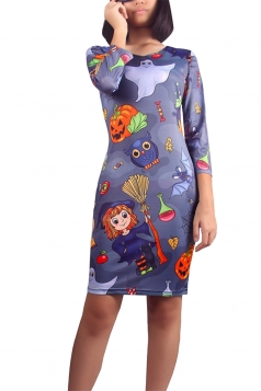 Womens Halloween Pumpkin Lantern Midi Dress Navy Blue