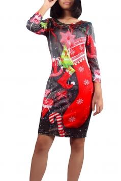 Womens Round Neck Christmas Stocking Midi Dress Black