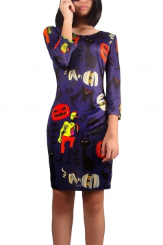 Womens Round Neck Halloween Jack-O' Lantern Midi Dress Navy Blue