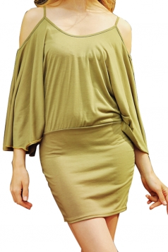 Womens Cold Shoulder Batwing Sleeve Plain Bodycon Dress Army Green