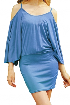 Womens Cold Shoulder Batwing Sleeve Plain Bodycon Dress Light Blue