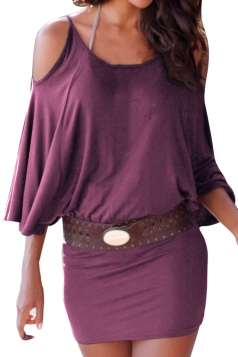 Womens Cold Shoulder Batwing Sleeve Plain Bodycon Dress Purple