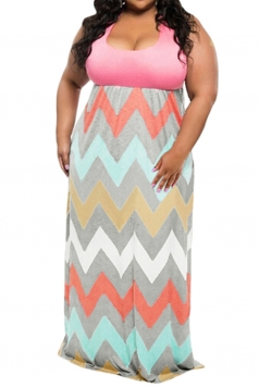 Womens Plus Size Zigzag Printed Maxi Tank Dress Pink