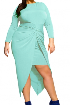 Womens Plus Size Knotted Asymmetric Slit Long Sleeve Dress Blue
