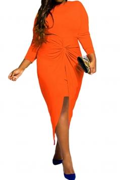 Womens Plus Size Knotted Asymmetric Slit Long Sleeve Dress Orange