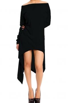 Womens Boat Neck High Low Asymmetric Long Sleeve Dress Black