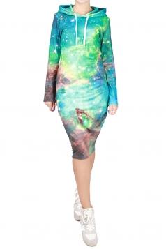 Womens Galaxy Printed Hooded Long Sleeve Midi Dress Turquoise
