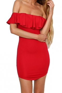 Womens Off Shoulder Ruffled Plain Bodycon Dress Red