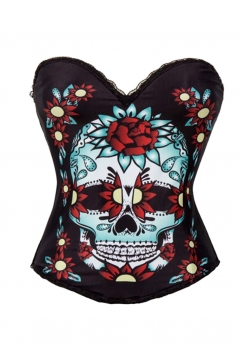 Womens Halloween Floral Skull Printed Over Bust Corset Black