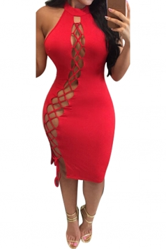 Womens Sexy Lace Up Halter Cut Out Midi Clubwear Dress Red