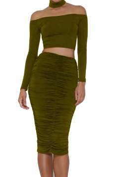 Womens Choker Off Shoulder Crop Top&Ruched Midi Skirt Suit Army Green