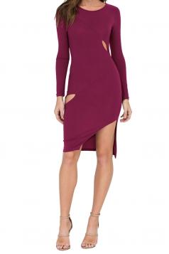 Womens Cut-out Side Slit Long Sleeve Plain Bodycon Dress Purple