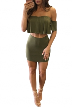Womens Off Shoulder Ruffle Top&Mini Skirt Suit Army Green