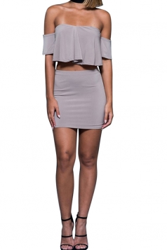 Womens Off Shoulder Ruffle Top&Mini Skirt Suit Gray