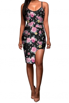 Womens Floral Printed Asymmetric Slit Clubwear Dress Purple