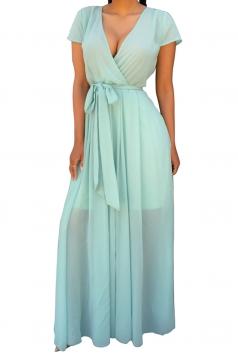 Womens V Neck Lace-up Sheer Plain Maxi Dress Light Green