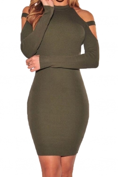 Womens Cold Shoulder Long Sleeve Plain Bodycon Dress Army Green