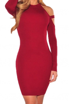 Womens Cold Shoulder Long Sleeve Plain Bodycon Dress Red