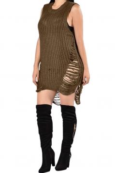 Womens Sleeveless Side Ripped Plain Sweater Dress Chestnut