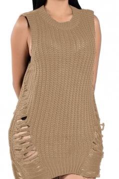 Womens Sleeveless Side Ripped Plain Sweater Dress Khaki