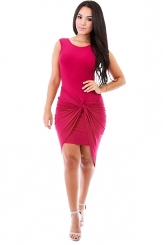 Womens Plain Knot Ruched Asymmetric Hem Tank Dress Rose Red