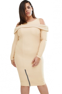 Womens Plus Size Cold Shoulder Long Sleeves Zipper Dress Apricot