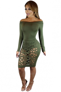 Womens Off Shoulder Long Sleeve Hollow Out Clubwear Dress Army Green