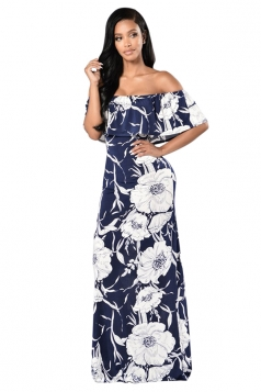 Womens Ruffled Off Shoulder Floral Print Floor Length Maxi Dress Blue