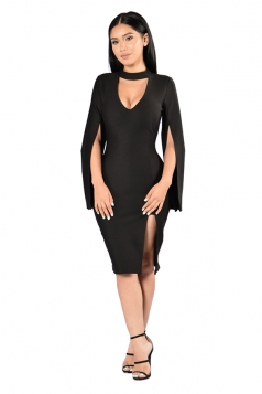 Womens U Neck Open Sleeve Side Slit Midi Clubwear Dress Black