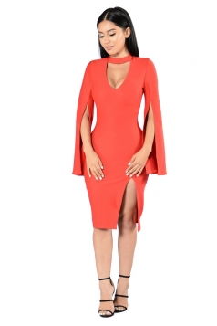Womens U Neck Open Sleeve Side Slit Midi Clubwear Dress Tangerine