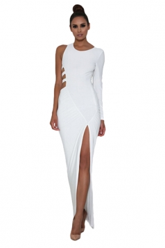 Womens Single Long Sleeve Cutout Detail Side Slit Maxi Dress White
