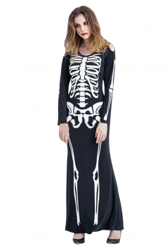 Women Cut Out Shoulder Skeleton Costume Black Adult