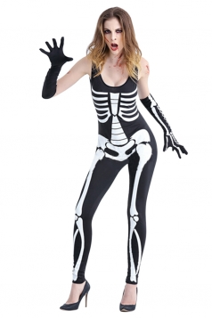 Sexy Womens Sleeveless One-piece Skeleton Costume Black