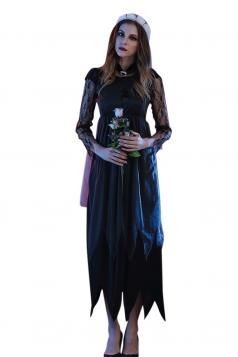 Womens Irregular Long Sleeve Zombie Bride Halloween Costume Black