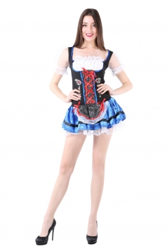 Womens Lace-up Pleated Halloween Maid Costume Blue