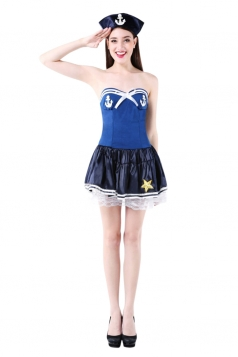 Womens Lace Trim Tube Halloween Sailor Costume Blue
