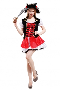 Womens Striped Lace-up Halloween Pirate Costume Red