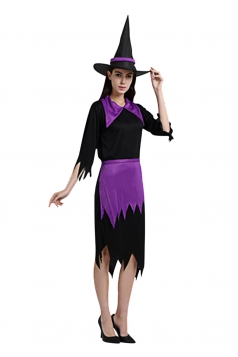 Womens Irregular Midi-length Halloween Witch Costume Purple