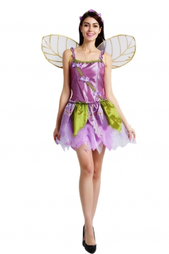 Womens Spaghetti Straps Halloween Flower Fairy Costume Purple