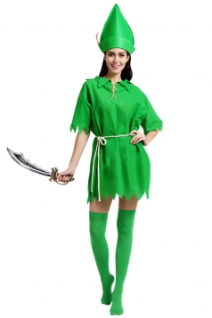Womens Cute Irregular Halloween Peter Pan Fairy Costume Green