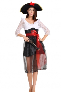 Womens Sheer Ruffled Half Sleeve Halloween Pirate Costume White